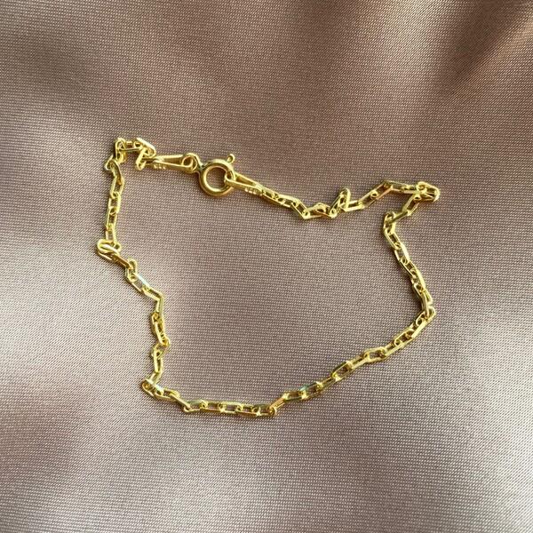 Fi Season - İnce Dikdörtgen Zincirli Bileklik   925 Gümüş