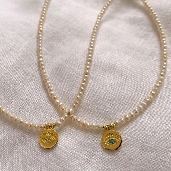 - İncili Gözlü Madalyon Kolye | 925 Gümüş