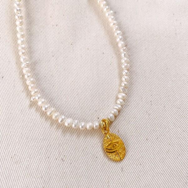 Fi Season - İncili Madalyon Figürlü Kolye | 925 Gümüş