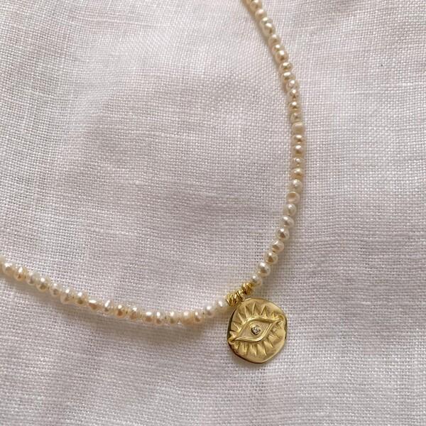 Fi Season - İncili Madalyon Kolye | 925 Gümüş