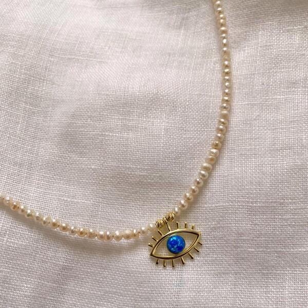 - İncili Mavi Opal Taşlı Göz Kolye | 925 Gümüş