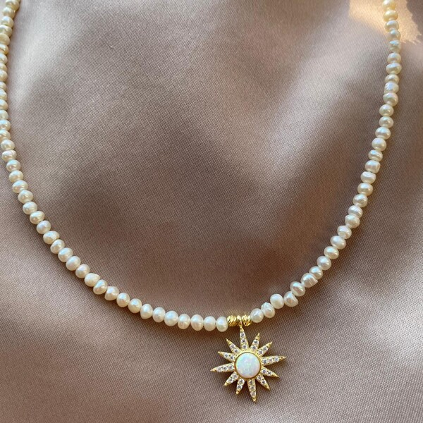 - İncili Opal Taşlı Güneş Kolye | 925 Gümüş