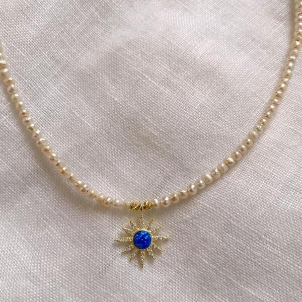 - İncili Opal Taşlı Mavi Güneş Kolye | 925 Gümüş