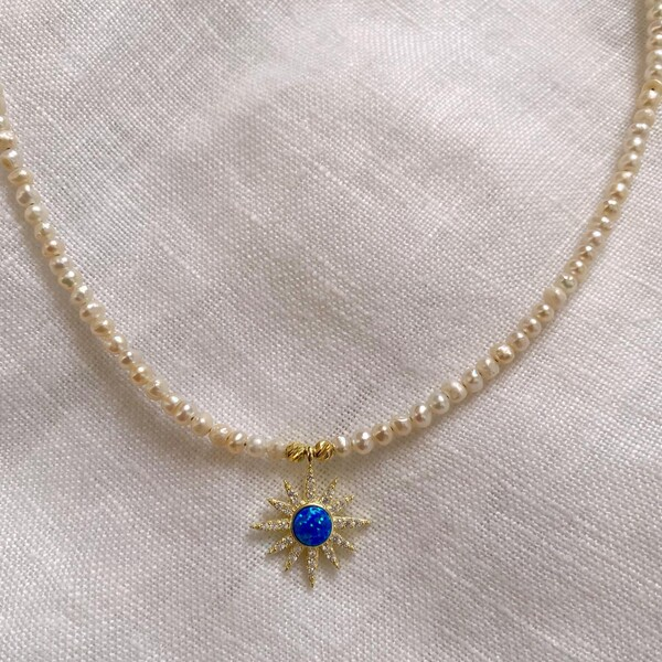 Fi Season - İncili Opal Taşlı Mavi Güneş Kolye   925 Gümüş