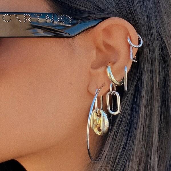 Kalın Halka Ear Cuff | 925 Gümüş - Thumbnail