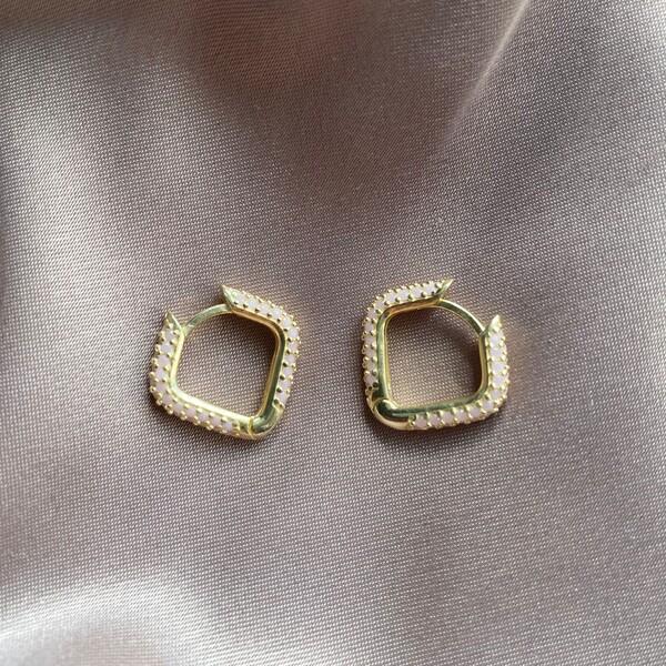 Fi Season - Kare Figürlü Açık Pembe Taşlı Küpe | 925 Gümüş