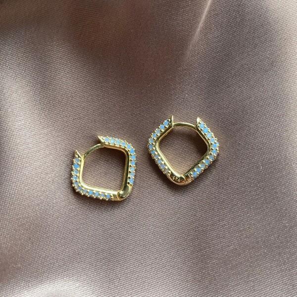 Fi Season - Kare Figürlü Mavi Taşlı Küpe | 925 Gümüş
