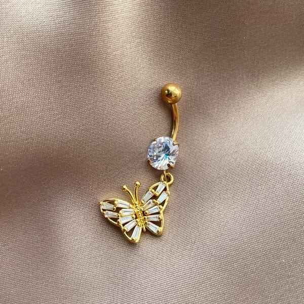 Fi Season - Baget Taşlı Kelebek Figürlü Göbek Piercingi