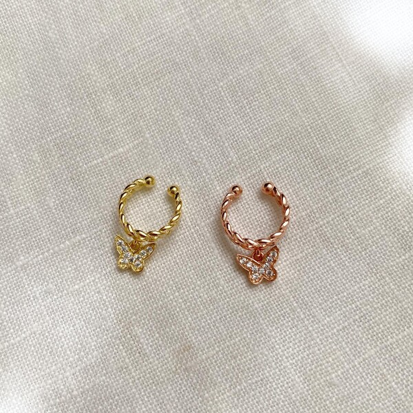 Fi Season - Kelebekli Zincir Ear Cuff | 925 Gümüş