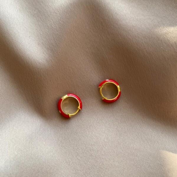 - Kırmızı Mineli Halka Küpe | 925 Gümüş