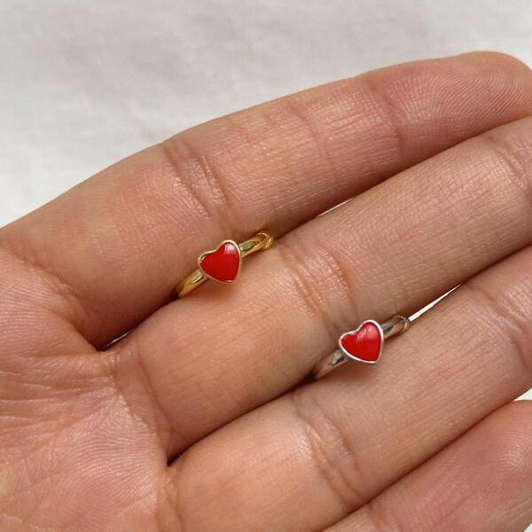 Fi Season - Kırmızı Mineli Kalp Figürlü Ear Cuff | 925 Gümüş
