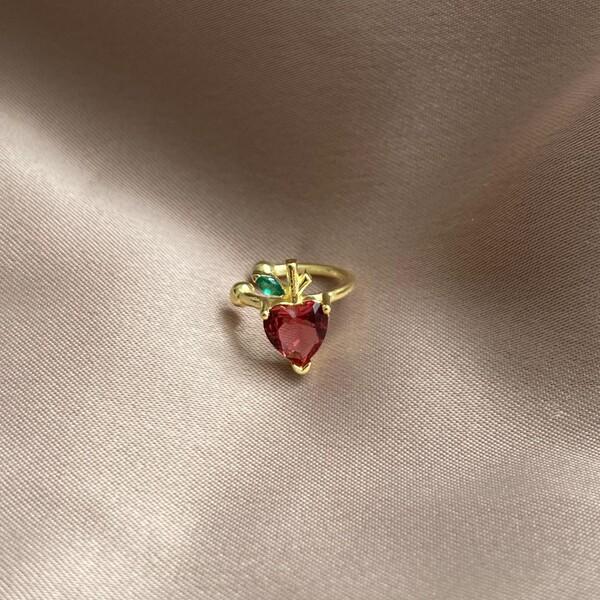 Fi Season - Kırmızı Taşlı Elma Ear Cuff | 925 Gümüş