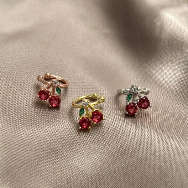 Fi Season - Kırmızı Taşlı Kiraz Ear Cuff | 925 Gümüş