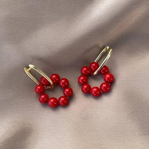 Fi Season - Kırmızı Taşlı Oval Dikdörtgen Küpe   925 Gümüş