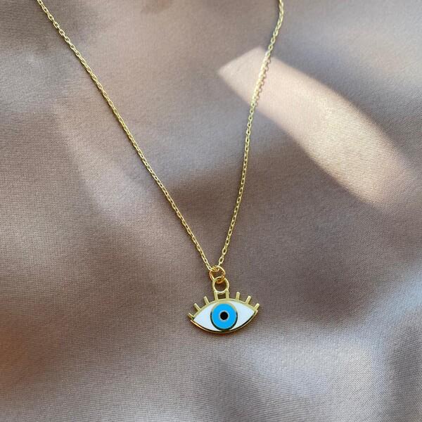 Kirpikli Beyaz Mineli Mavi Göz Kolye   925 Gümüş - Thumbnail