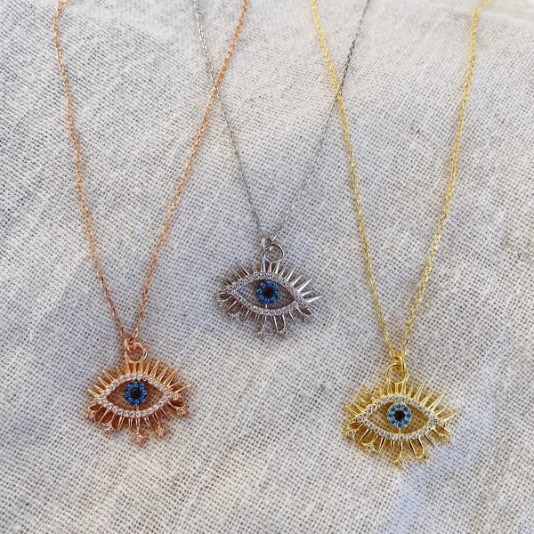 - Kirpikli Mavi Taşlı Göz Kolye 2 | 925 Gümüş
