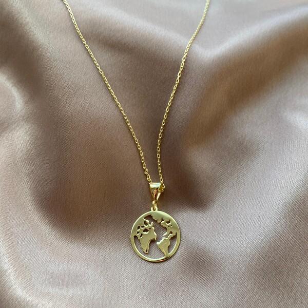 - Dünya Figürlü Kolye | 925 Gümüş