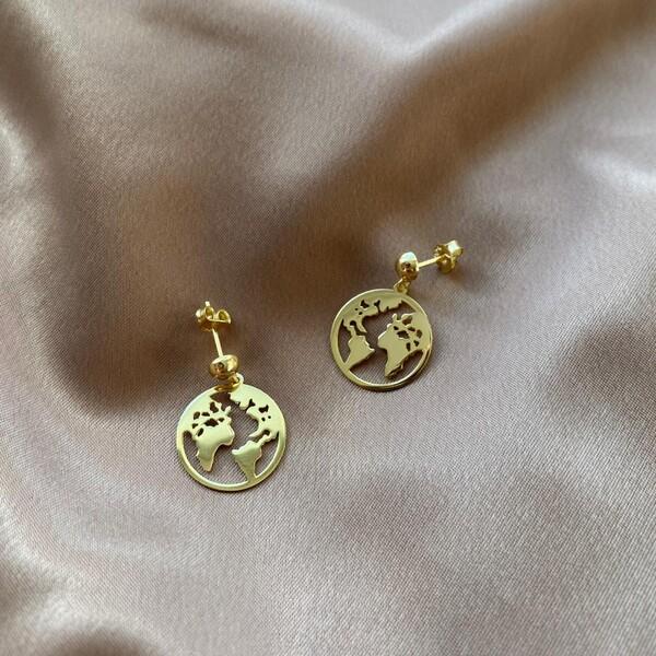 - Dünya Figürlü Küpe | 925 Gümüş
