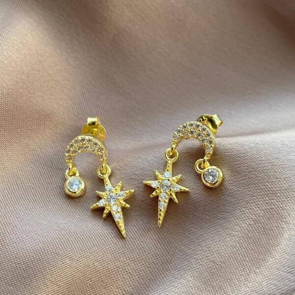 Fi Season - Kutup Yıldızı Figürlü Taşlı Küpe   925 Gümüş
