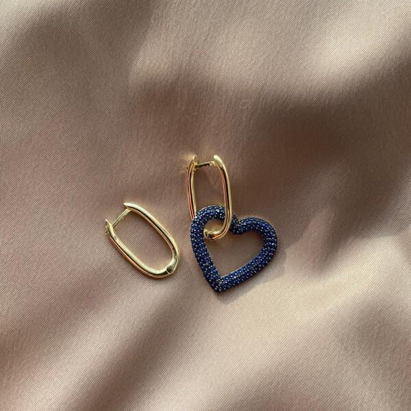 - Lacivert Taşlı Kalpli Dikdörtgen Küpe   925 Gümüş