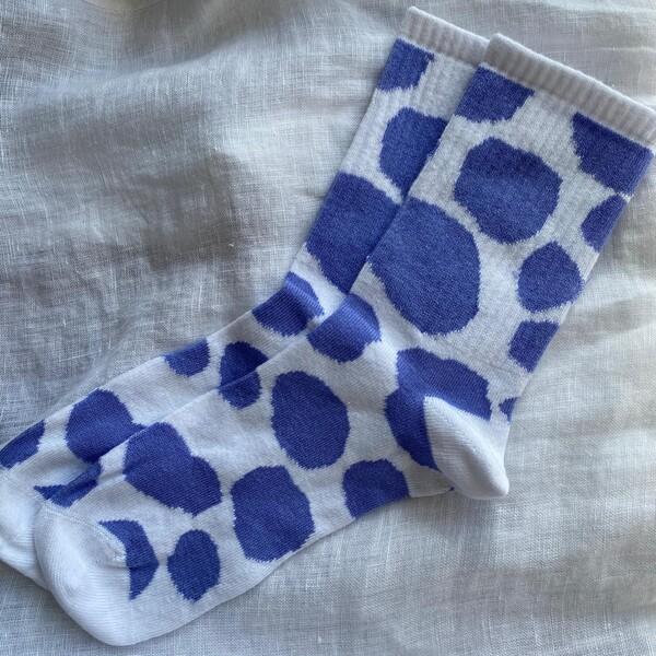 - Lila İnek Desenli Çorap