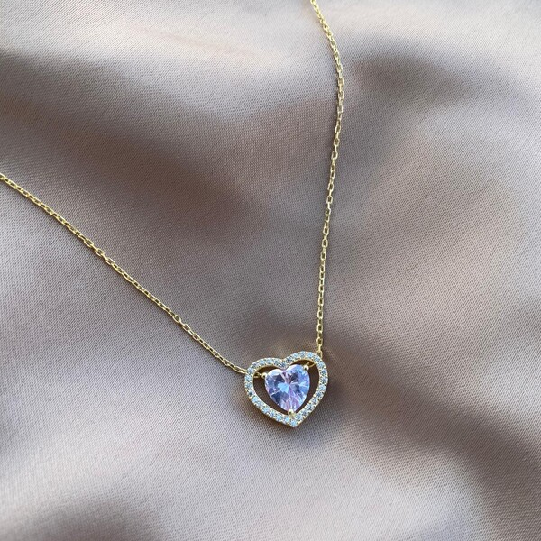 - Lila Taşlı Çift Uçlu Kalp Kolye | 925 Gümüş