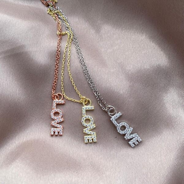 - Love Yazılı Kolye | 925 Gümüş