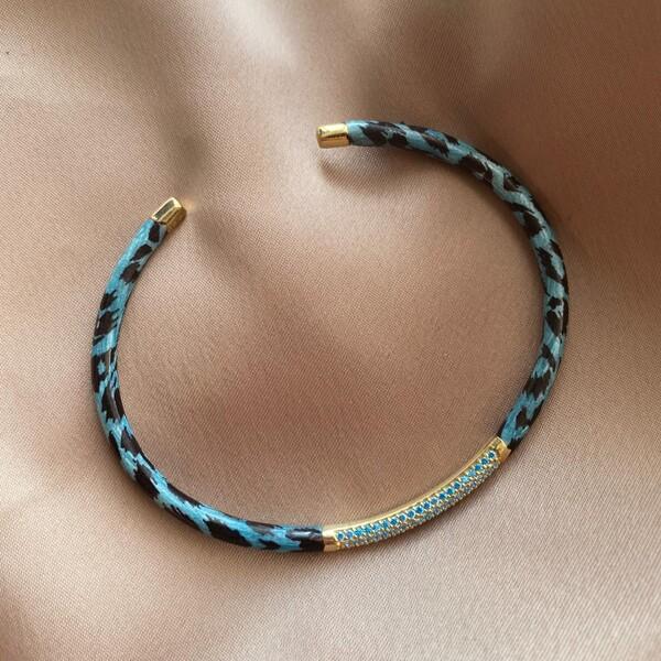 Fi Season - Mavi Leoparlı Taşlı Bilezik | 925 Gümüş