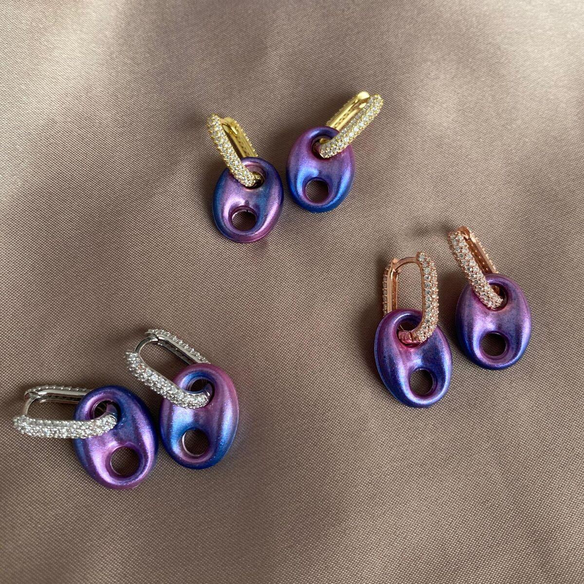 Mavi Lila Renkli Halkalı Gemici Küpe | 925 Gümüş