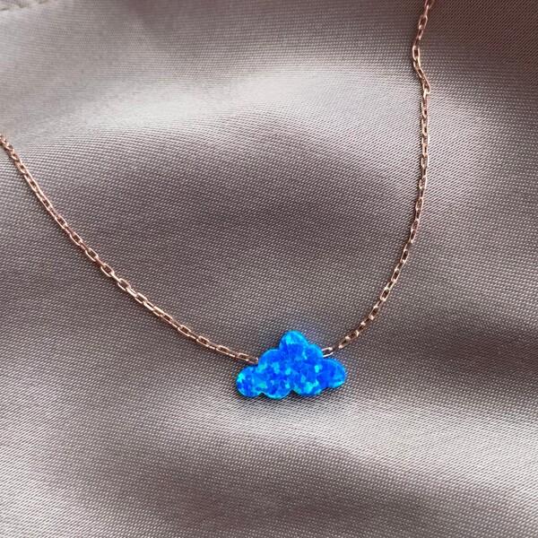 - Mavi Opal Taşlı Bulut Kolye | 925 Gümüş