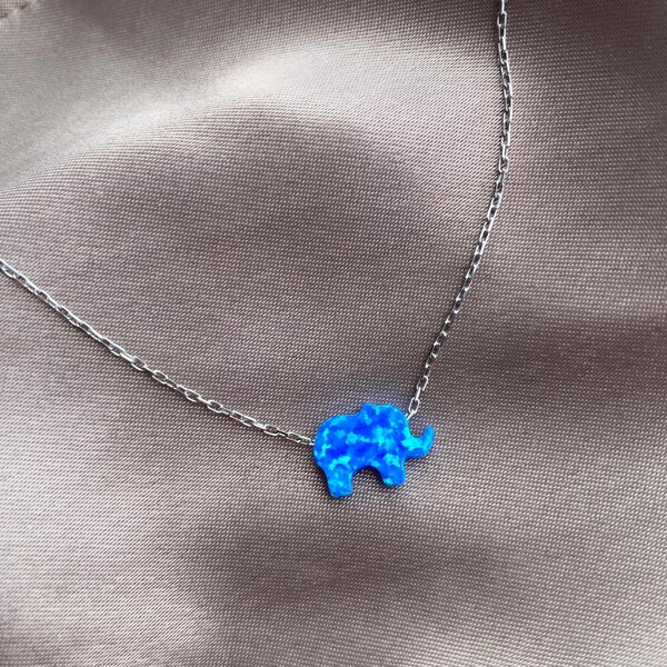 - Mavi Opal Taşlı Fil Kolye | 925 Gümüş