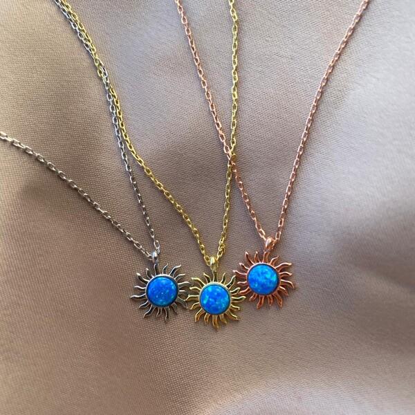 - Mavi Opal Taşlı Güneş Figürlü Kolye | 925 Gümüş