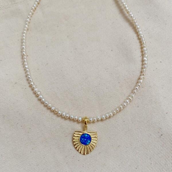 Fi Season - Mavi Opal Taşlı İnci Kolye   925 Gümüş