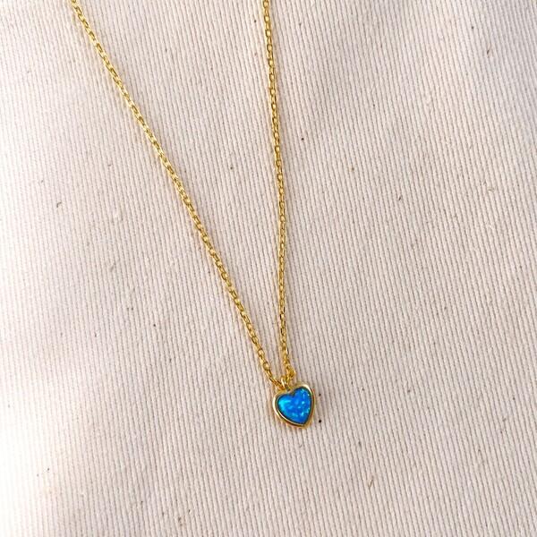 Fi Season - Mavi Opal Taşlı Kalp Kolye | 925 Gümüş