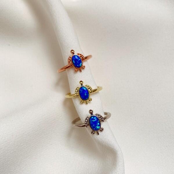 - Mavi Opal Taşlı Kaplumbağa Yüzük | 925 Gümüş