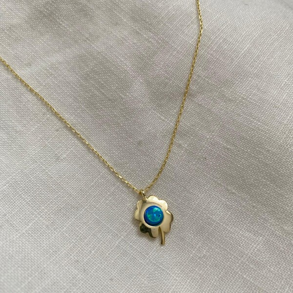 - Mavi Opal Taşlı Yonca Kolye | 925 Gümüş