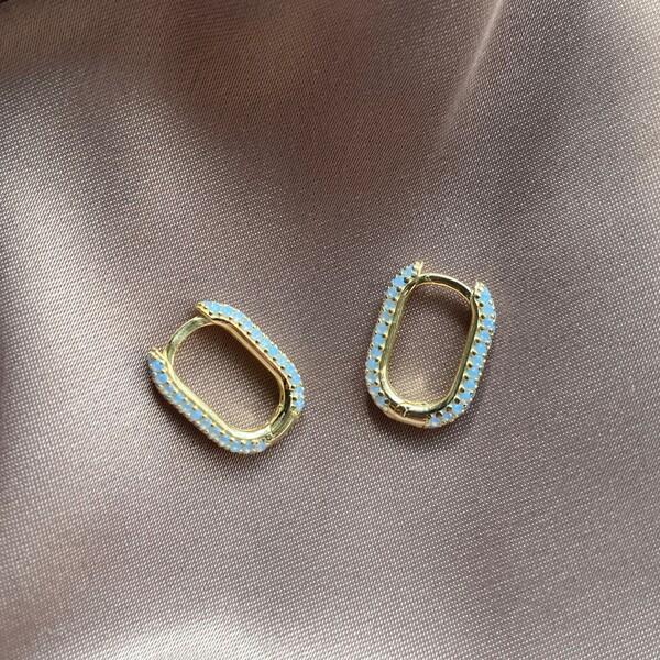 Fi Season - Mavi Taşlı Dikdörtgen Küpe | 925 Gümüş