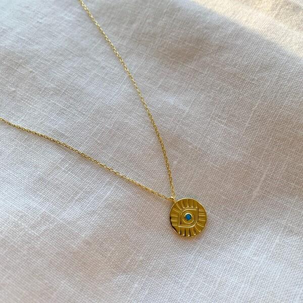 - Mavi Taşlı Göz Figürlü Madalyon Kolye | 925 Gümüş