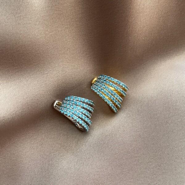 Fi Season - Mavi Taşlı Kalın Ear Cuff   925 Gümüş