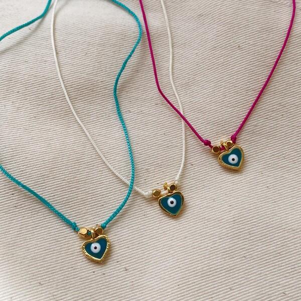 - Mavi Taşlı Kalp Figürlü Renkli İp Bileklik