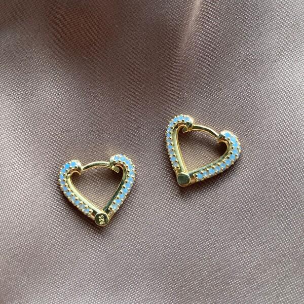Fi Season - Mavi Taşlı Kalp Küpe | 925 Gümüş