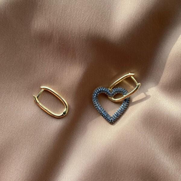 - Mavi Taşlı Kalpli Dikdörtgen Küpe   925 Gümüş