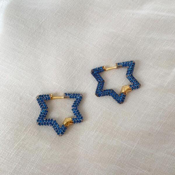 Fi Season - Mavi Taşlı Yıldız Küpe | 925 Gümüş