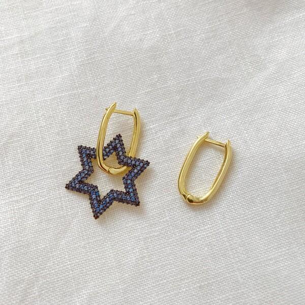 Fi Season - Mavi Taşlı Yıldızlı Dikdörtgen Küpe   925 Gümüş