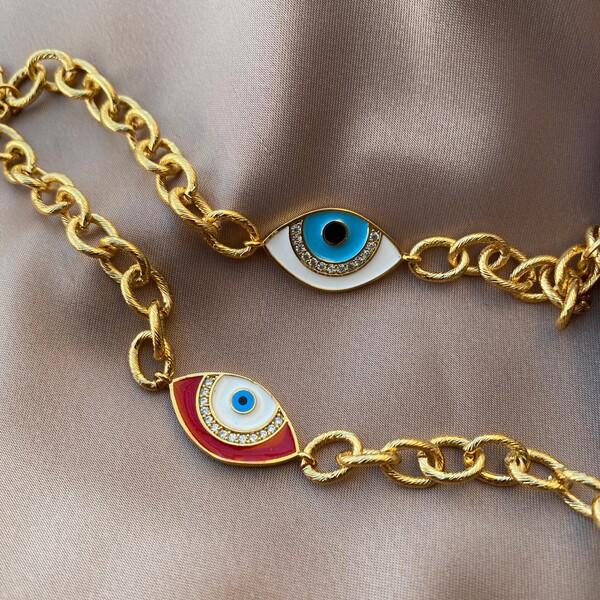 - Mineli Taşlı Göz Figürlü Bileklik