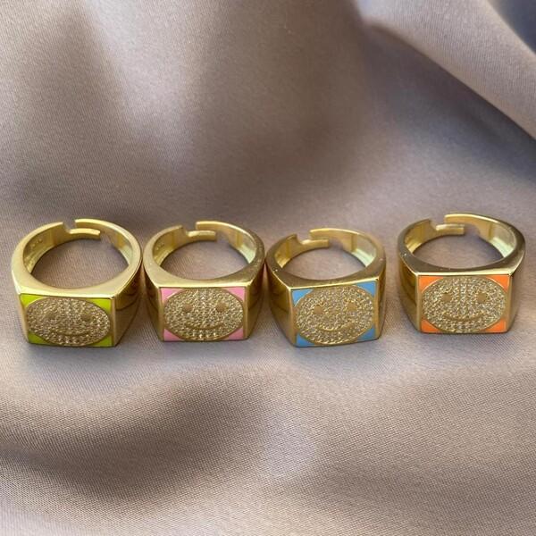 Fi Season - Mineli Taşlı Gülen Yüz Yüzük | 925 Gümüş
