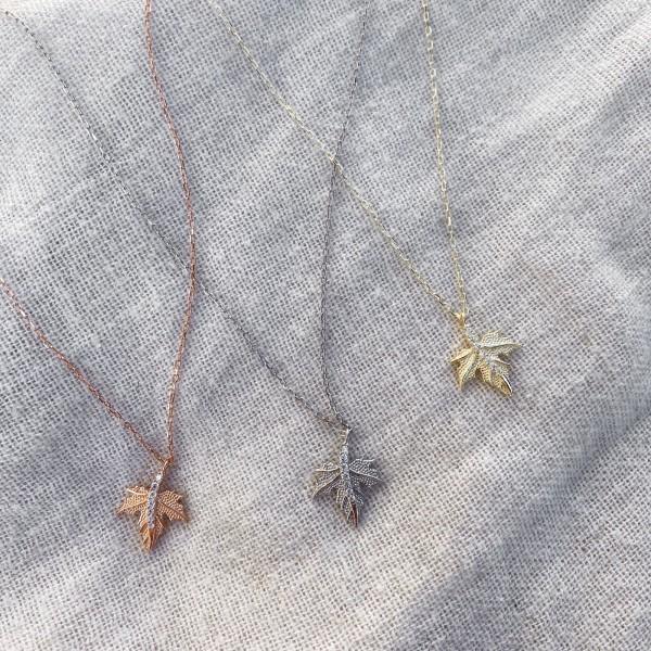- Minik Çınar Ağacı Yaprağı Kolye | 925 Gümüş
