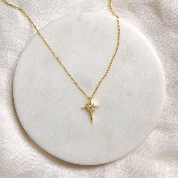Minik Zirkon Taşlı Kutup Yıldızı Kolye | 925 Gümüş - Thumbnail