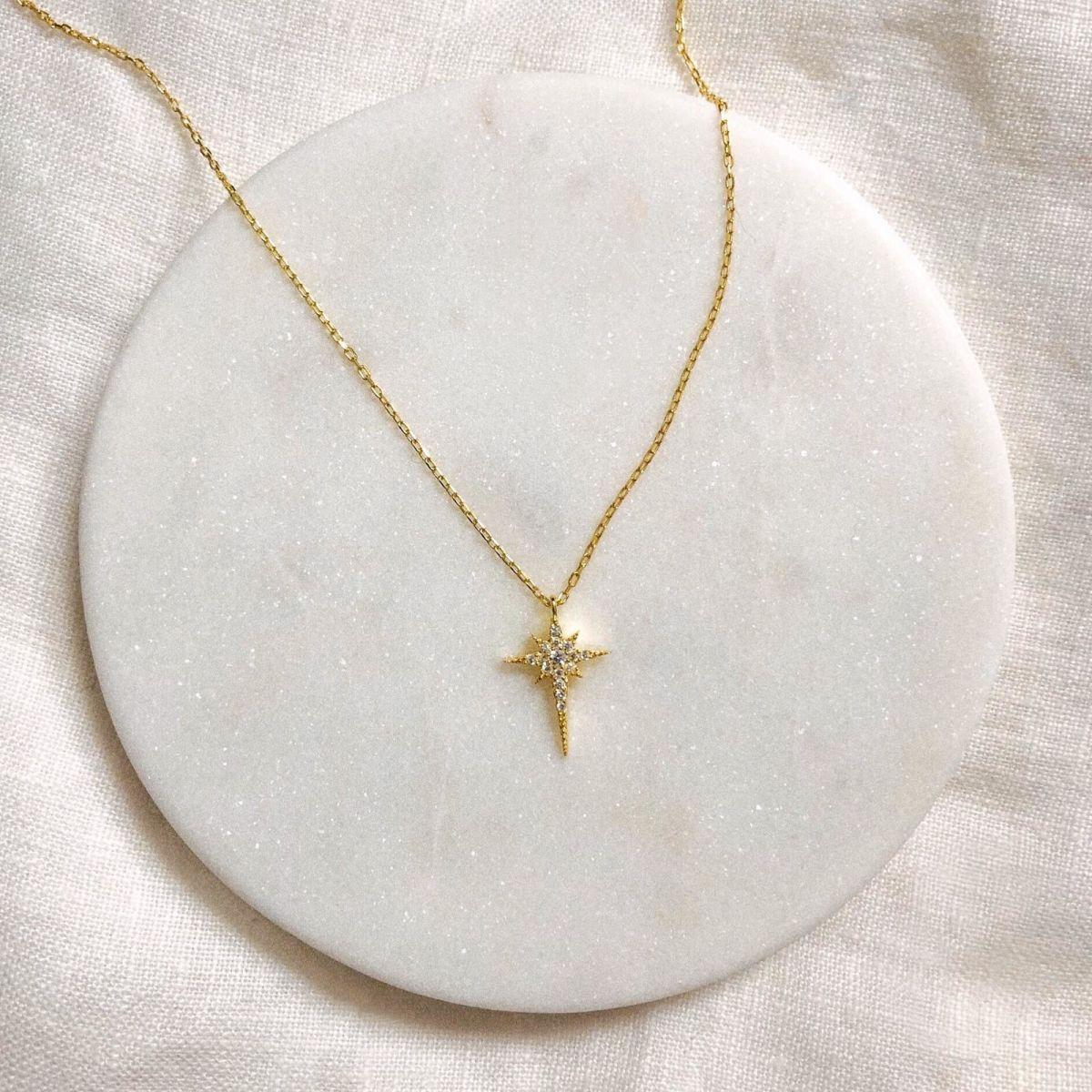 Minik Zirkon Taşlı Kutup Yıldızı Kolye | 925 Gümüş