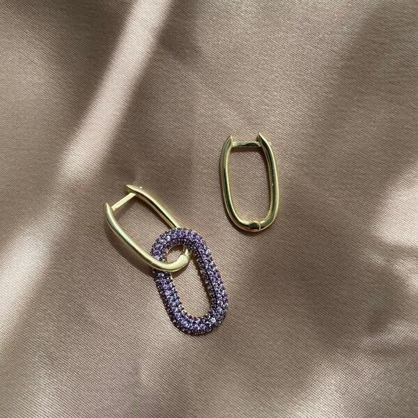 - Mor Taşlı İkili Dikdörtgen Küpe   925 Gümüş